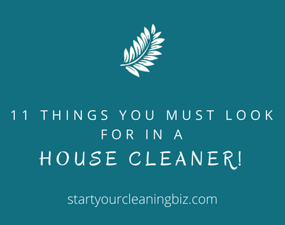 11 things you must look for in a Professional Cleaner.